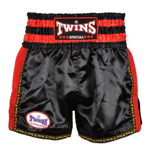 Twins TWS-922 Black/Red Retro Muay Thai Shorts